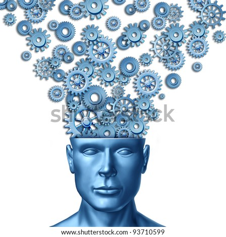 Creative human intelligent brain with a front facing human head with gears and cogs expressing out of the persons mind as a symbol of design innovation and new thinking in business leadership.