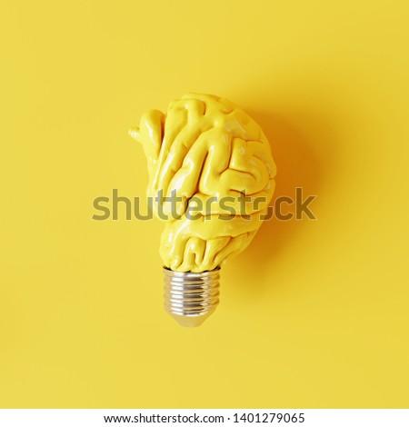 Creative idea brain lightbulb. Minimal concept. 3d rendering