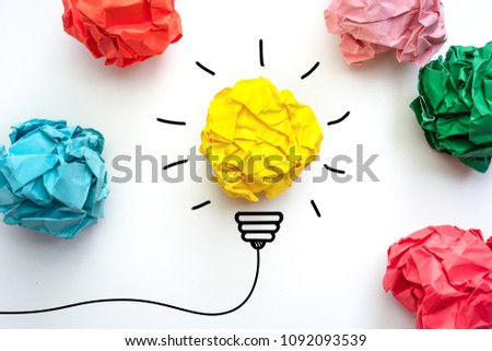Creative idea. Concept idea and innovation with paper light bulb. #1092093539