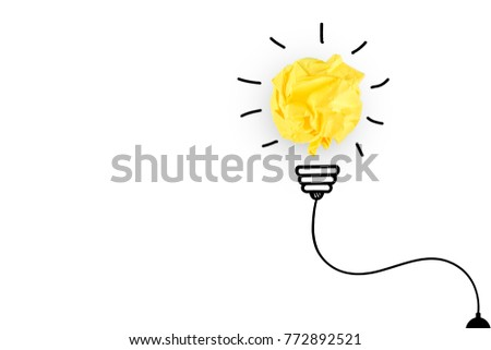 creative idea.Concept idea and innovation with paper light bulb on white background #772892521