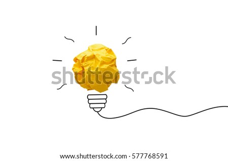 creative idea.Concept idea and innovation with paper light bulb on yellow background #577768591