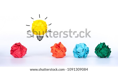 Creative idea. Concept idea and innovation with paper light bulb with colorful crumpled paper. #1091309084