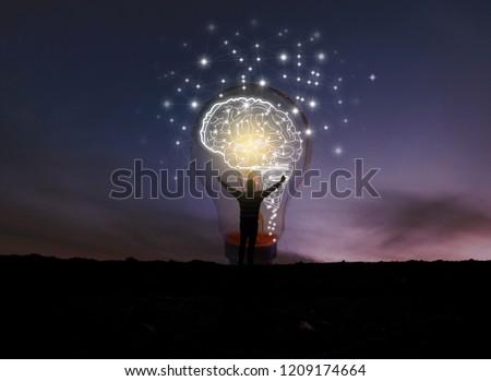 creative idea.Concept of idea and innovation / night sky background / soft focus picture / Blue tone concept