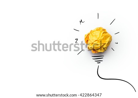 Shutterstock creative idea.Concept of idea and innovation with paper ball