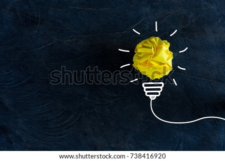 creative idea.Concept of idea and innovation with paper ball #738416920