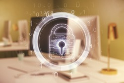 Creative idea concept with lock symbol and microcircuit illustration on modern laptop background. Protection and firewall concept. Multiexposure