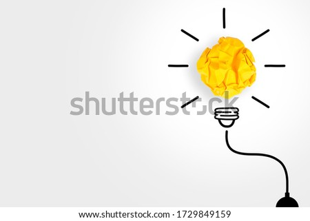 Creative Idea Concepts Light Bulb with Crumpled Paper on White Background