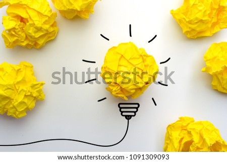 Creative idea. Good idea and Inspiration with paper light bulb on white background #1091309093