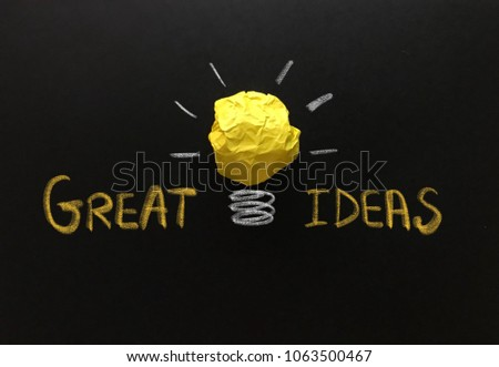 Creative idea, great idea, concept of idea and innovation with yellow paper ball as light bulb, inspiration #1063500467