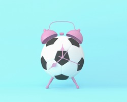 Creative idea layout football alarm clock on pastel blue background. minimal idea sport concept. Idea creative to produce work within an advertising marketing communications or artwork design.