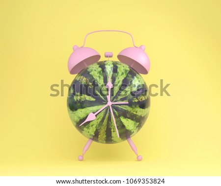 Creative idea layout fresh watermelon alarm clock on pastel yellow background. minimal idea business concept. fruit idea creative to produce work within an advertising marketing communications