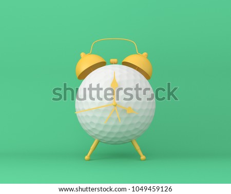 Creative idea layout Golf alarm clock on pastel green background. minimal idea sport concept. Idea creative to produce work within an advertising marketing communications or artwork design. #1049459126