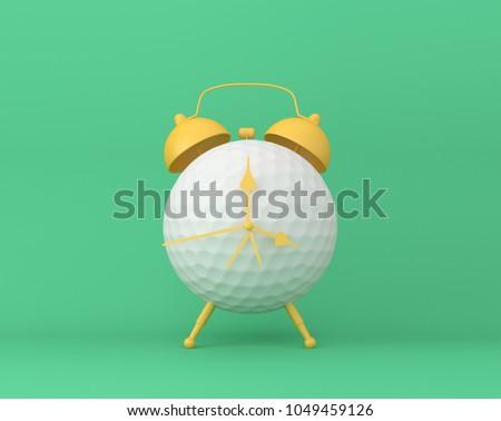 Creative idea layout Golf alarm clock on pastel green background. minimal idea sport concept. Idea creative to produce work within an advertising marketing communications or artwork design. #1049459126