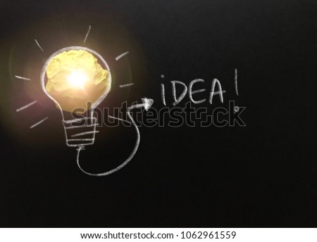 Creative idea, new idea, concept of idea and innovation with yellow paper ball as light bulb, inspiration #1062961559