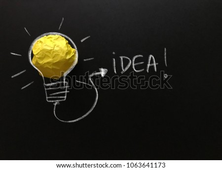 Creative idea, new idea, concept of idea and innovation with yellow paper ball as light bulb, inspiration #1063641173