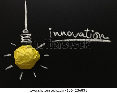 Creative idea, new idea, concept of idea and innovation with yellow paper ball as light bulb, inspiration #1064236838