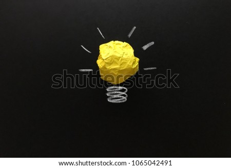 Creative idea, new idea, concept of idea and innovation with yellow paper ball as light bulb, inspiration #1065042491