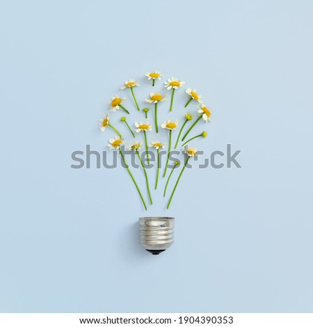 Creative idea with bulb and wild flower. Abstract floral bulb on pastel blue background. Energy technology and floral nature concept