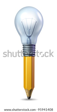 Creative ideas icon with a pencil and a lightbulb married together as a symbol of creativity and innovation and a spark of talented inspiration for the arts or as a symbol for a new  business idea.