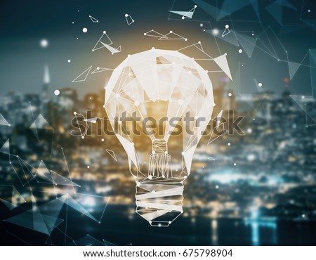 Creative illuminated polygonal lamp made of dots connected with lines on blurry night city background. Power concept