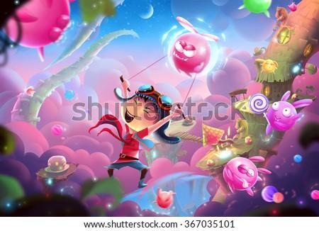 stock photo creative illustration and innovative art a naughty kid s fantastic happy world and wonderland 367035101 - Каталог — Фотообои «Для детской»