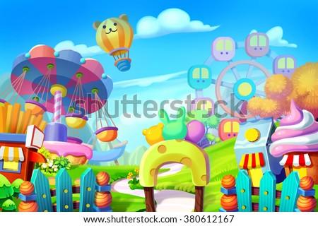 stock photo creative illustration and innovative art background set colorful playground amusement park 380612167 - Каталог — Фотообои «Для детской»