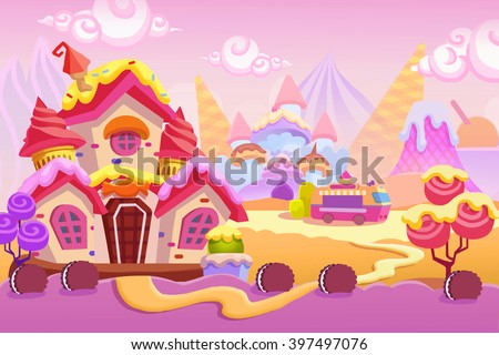stock photo creative illustration and innovative art background set ice cream town realistic fantastic 397497076 - Каталог — Фотообои «Для детской»