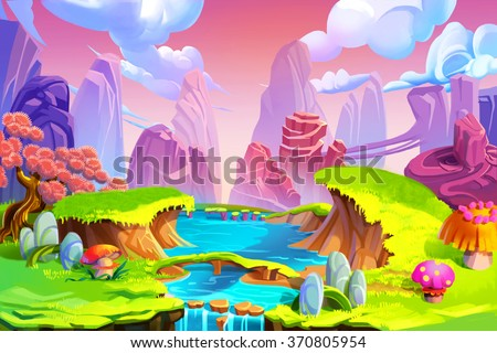 stock photo creative illustration and innovative art color in nature the mountain river and green grass 370805954 - Каталог — Фотообои «Для детской»