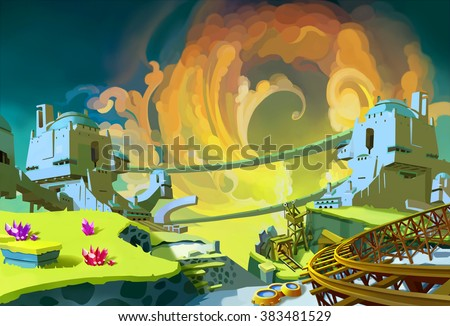 Creative Illustration and Innovative Art: Forgotten Gem Mine Area. Realistic Fantastic Cartoon Style Artwork Scene, Wallpaper, Story Background, Card Design