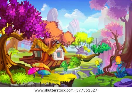 stock photo creative illustration and innovative art the tree house scene realistic fantastic cartoon style 377351527 - Каталог — Фотообои «Для детской»