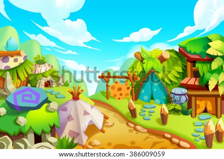 Creative Illustration and Innovative Art: Tribe Background. Realistic Fantastic Cartoon Style Artwork Scene, Wallpaper, Story Background, Card Design