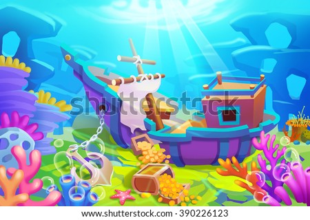 Creative Illustration and Innovative Art: Under the Sea, Finding Treasures from Shipwrecks. Realistic Fantastic Cartoon Style Artwork Scene, Wallpaper, Story Background, Card Design