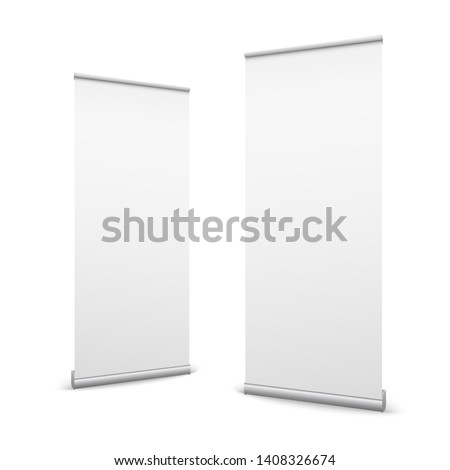Creative illustration of empty roll up banners with paper canvas texture isolated on background. Art design blank template mockup. Concept graphic promotional presentation element