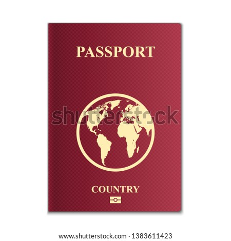 Creative illustration of passports with globe map isolated on background. Art design. Front cover international identification document. Abstract concept graphic element