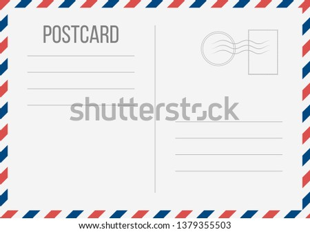 Creative illustration of postcard isolated on background. Postal travel card art design. Blank airmail mockup template. Abstract concept graphic element