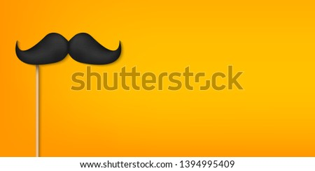 Creative illustration of realistic black mustaches on plastic stick isolated on background. Retro vintage art design. Fashionable old facial hair. Abstract concept graphic element