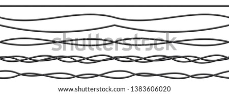 Creative illustration of realistic electrical wires flexible network, connection industrial power energy cables isolated on background. Art design. Abstract concept graphic element