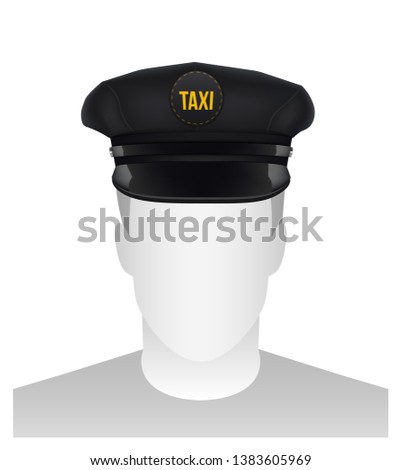 526dd174 Creative illustration of taxi driver cap with visor isolated on background.  Art design template.
