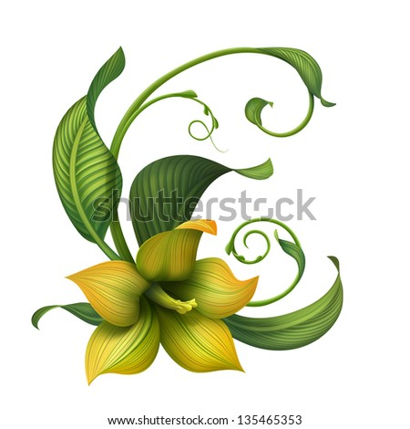 creative illustration of yellow fantasy flower and green leaves isolated on white background