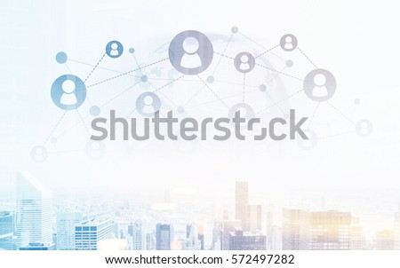 Creative image of cityscape and abstract globe with connected hr icons. Global network concept