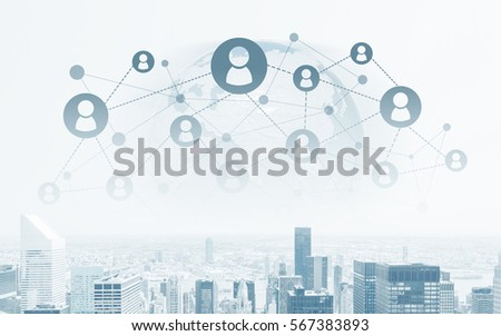 Creative image of cityscape and abstract globe with connected hr icons. Global networking concept