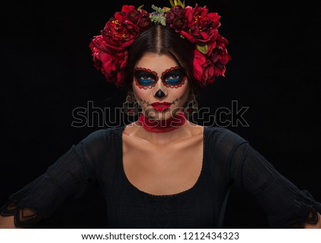 Creative image of Sugar Skull. Neon makeup for Halloween or Dia De Mertos holiday. Foto d'archivio ©