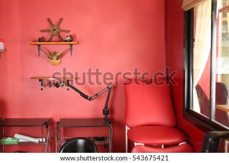 Creative interior of tattoo master studio #543675421