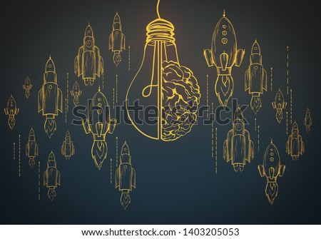 Creative lamp, brain and rocket sketch on black background. Startup, brainstorm and solution concept, 3D Rendering