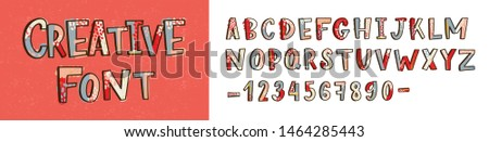 Creative latin font or decorative english alphabet hand drawn on light background. Collection of bright colored stylized letters arranged in alphabetical order and figures. Modern illustration.