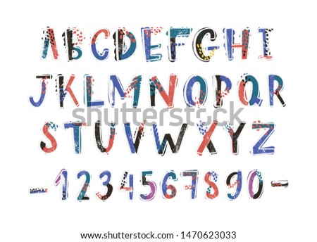 Creative latin font or english alphabet hand drawn on white background. Colorful textured letters arranged in alphabetical order and figures decorated with dots and stains. illustration