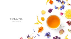Creative layout made of a cup of herbal tea on a white background. Top view.
