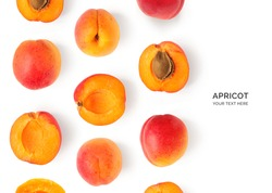 Creative layout made of apricot on the white background. Flat lay. Food concept.