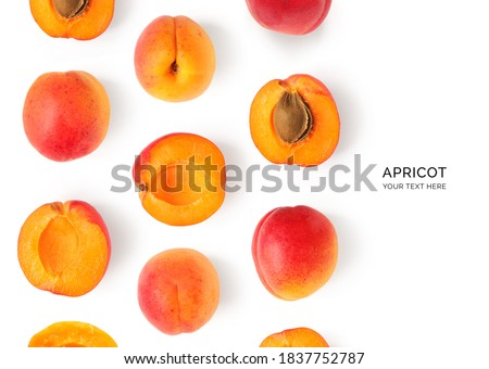 Creative layout made of apricot on the white background. Flat lay. Food concept. Сток-фото ©