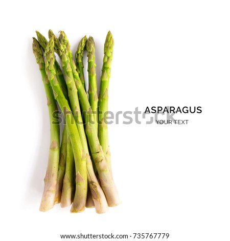 Creative layout made of asparagus on the white background. Food concept.